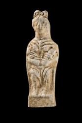 Figurine gallo romaine en terre cuite d'une d+®esse m+¿re allaitant deux enfants, collection du Mus+®e national d'histoire et d'art Luxembourg