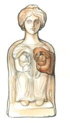 Reconstitutiond'une  statuette d'une d+®esse m+¿re, Dessin de Maggy Destr+®e, Espace gallo romain