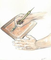 Tablette en cire, Dessin Maggy Destr+®e, Espace gallo romain d'Ath