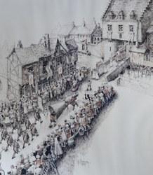 Procession d'Ath dessinée par René SANSEN 1979