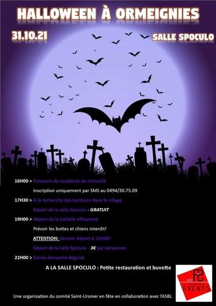 affiche halloween 2021 à Ormeignies
