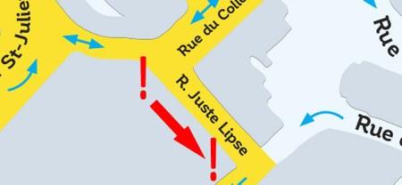 Rétablissement du sens initial de circulation de la rue Juste Lipse