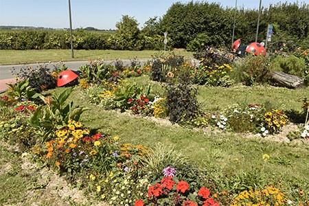 Parterre fleuri décoré par d'énormes coccinelles